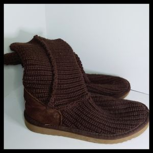 UGG chocolate brown woven womens boots size 7